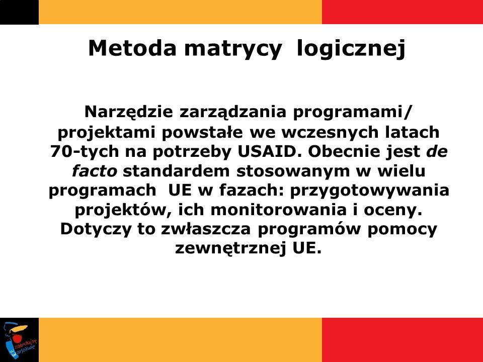 Metoda matrycy logicznej Narzędzie zarządzania programami/ projektami powstałe we wczesnych latach 70-tych na potrzeby USAID. Obecnie jest de facto st