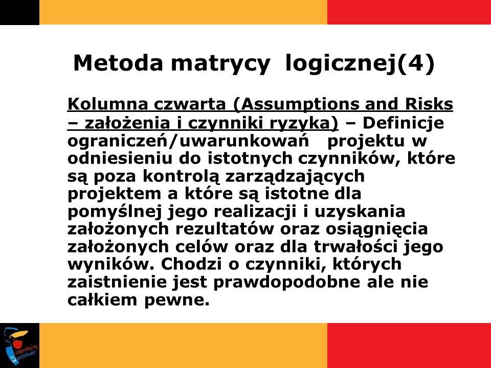 Metoda matrycy logicznej(4) Kolumna czwarta (Assumptions and Risks – założenia i czynniki ryzyka) – Definicje ograniczeń/uwarunkowań projektu w odnies