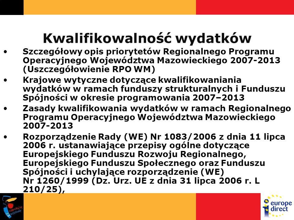 Kwalifikowalność wydatków Szczegółowy opis priorytetów Regionalnego Programu Operacyjnego Województwa Mazowieckiego 2007-2013 (Uszczegółowienie RPO WM