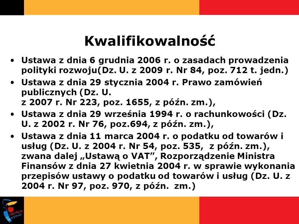 Kwalifikowalność Ustawa z dnia 6 grudnia 2006 r. o zasadach prowadzenia polityki rozwoju(Dz. U. z 2009 r. Nr 84, poz. 712 t. jedn.) Ustawa z dnia 29 s