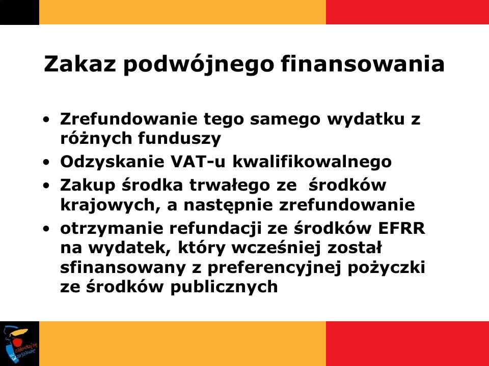 Zakaz podwójnego finansowania Zrefundowanie tego samego wydatku z różnych funduszy Odzyskanie VAT-u kwalifikowalnego Zakup środka trwałego ze środków