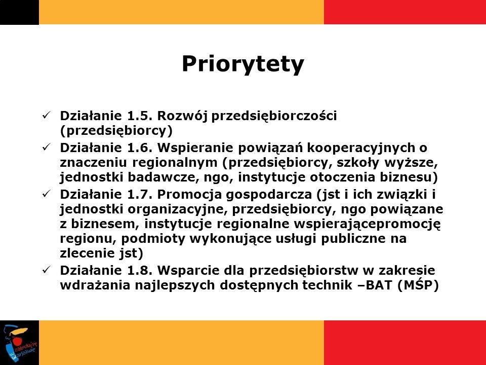 Priorytety Działanie 1.5. Rozwój przedsiębiorczości (przedsiębiorcy) Działanie 1.6. Wspieranie powiązań kooperacyjnych o znaczeniu regionalnym (przeds