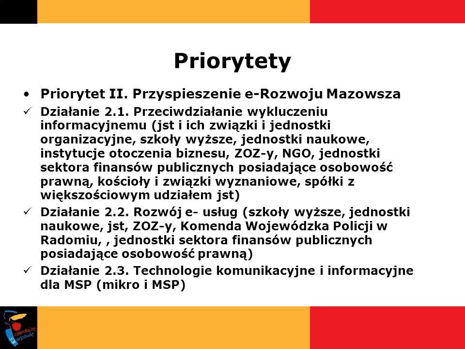 Priorytety Priorytet II. Przyspieszenie e-Rozwoju Mazowsza Działanie 2.1. Przeciwdziałanie wykluczeniu informacyjnemu (jst i ich związki i jednostki o