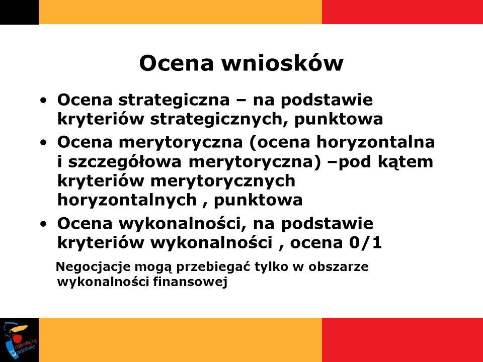 Ocena wniosków Ocena strategiczna – na podstawie kryteriów strategicznych, punktowa Ocena merytoryczna (ocena horyzontalna i szczegółowa merytoryczna)
