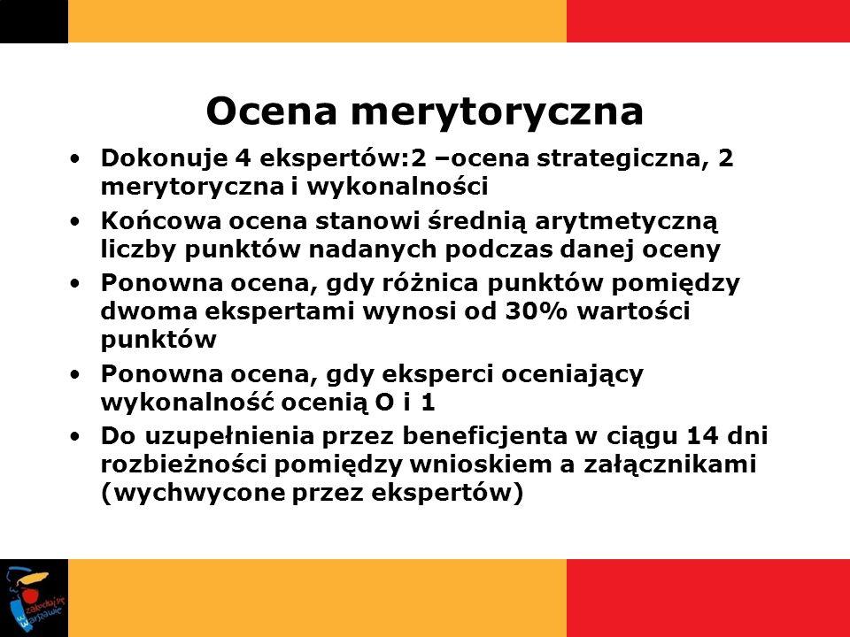 Ocena merytoryczna Dokonuje 4 ekspertów:2 –ocena strategiczna, 2 merytoryczna i wykonalności Końcowa ocena stanowi średnią arytmetyczną liczby punktów
