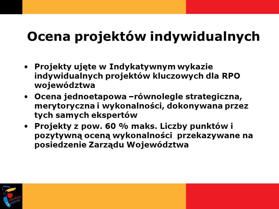 Ocena projektów indywidualnych Projekty ujęte w Indykatywnym wykazie indywidualnych projektów kluczowych dla RPO województwa Ocena jednoetapowa –równo