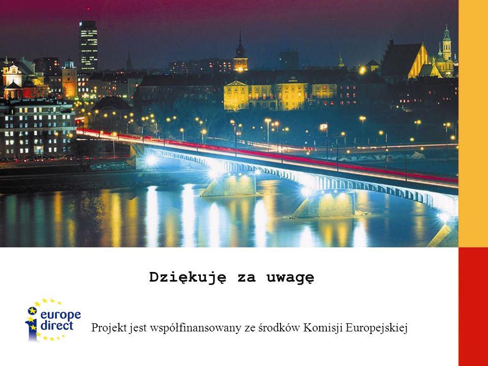 Dziękuję za uwagę Projekt jest współfinansowany ze środków Komisji Europejskiej