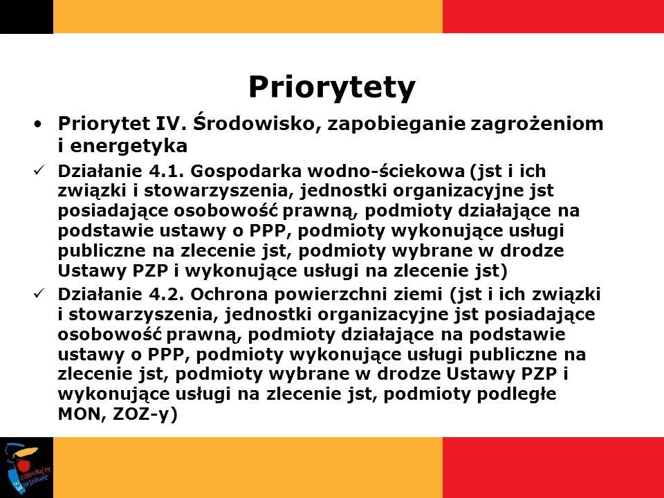 Priorytety Priorytet IV. Środowisko, zapobieganie zagrożeniom i energetyka Działanie 4.1. Gospodarka wodno-ściekowa (jst i ich związki i stowarzyszeni
