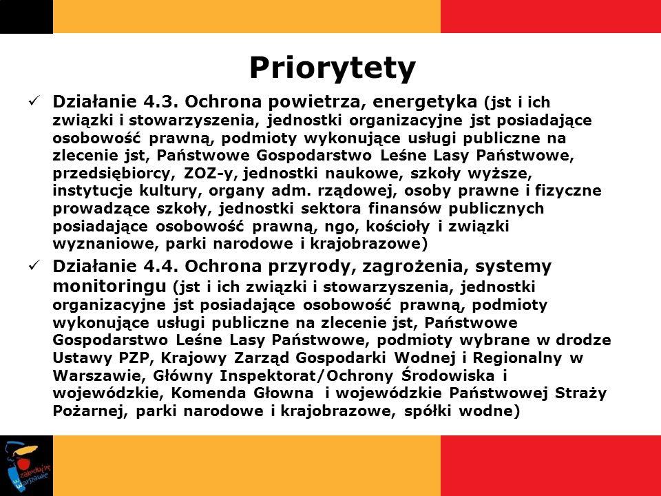 Priorytety Działanie 4.3. Ochrona powietrza, energetyka (jst i ich związki i stowarzyszenia, jednostki organizacyjne jst posiadające osobowość prawną,