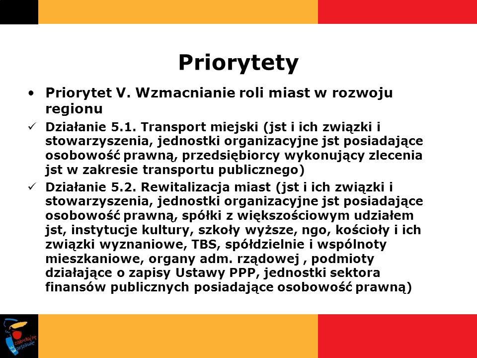 Priorytety Priorytet V. Wzmacnianie roli miast w rozwoju regionu Działanie 5.1. Transport miejski (jst i ich związki i stowarzyszenia, jednostki organ