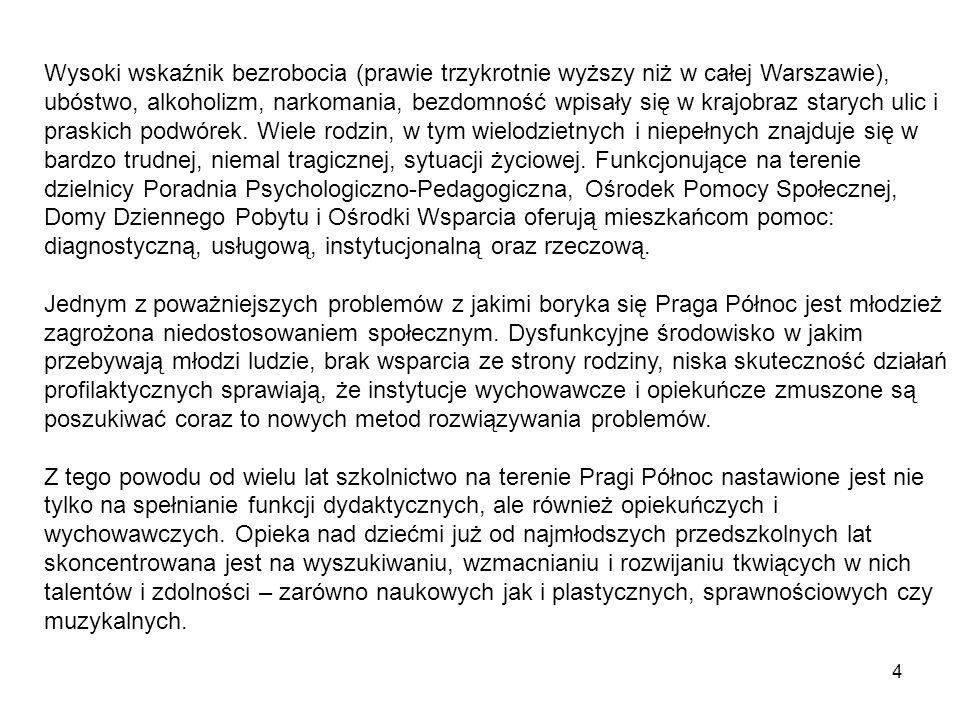 4 Wysoki wskaźnik bezrobocia (prawie trzykrotnie wyższy niż w całej Warszawie), ubóstwo, alkoholizm, narkomania, bezdomność wpisały się w krajobraz starych ulic i praskich podwórek.