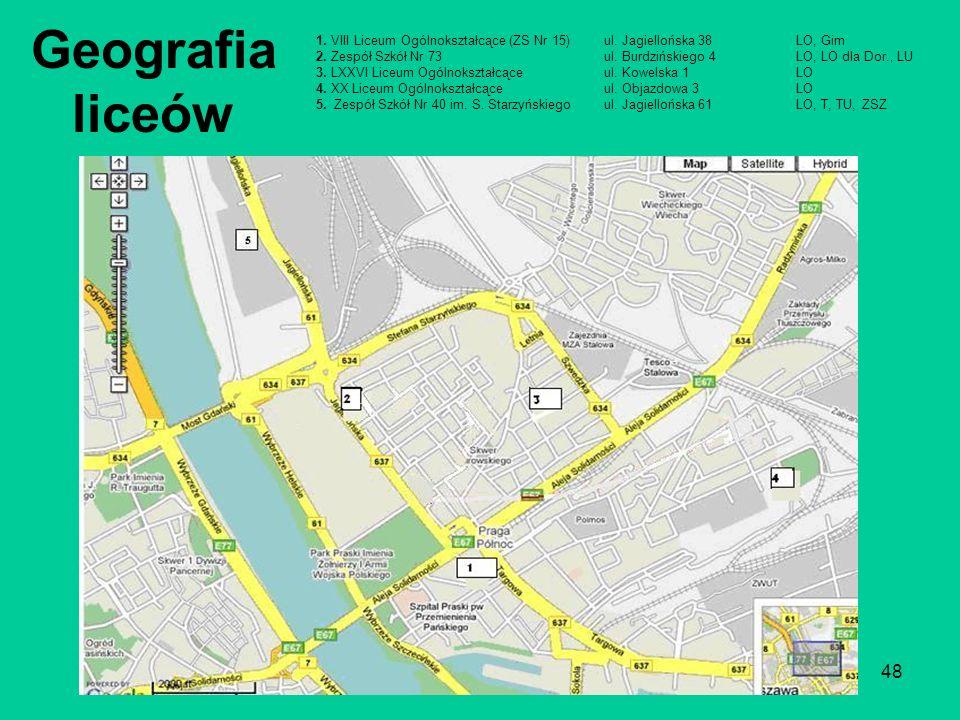 48 Geografia liceów 1.VIII Liceum Ogólnokształcące (ZS Nr 15)ul.