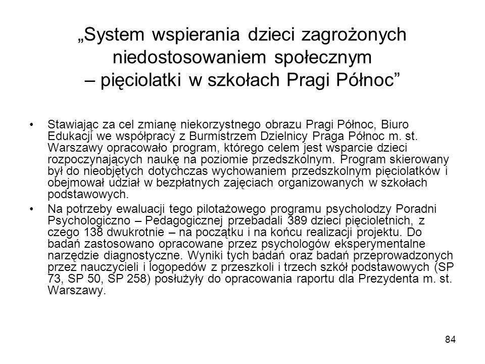 84 System wspierania dzieci zagrożonych niedostosowaniem społecznym – pięciolatki w szkołach Pragi Północ Stawiając za cel zmianę niekorzystnego obrazu Pragi Północ, Biuro Edukacji we współpracy z Burmistrzem Dzielnicy Praga Północ m.