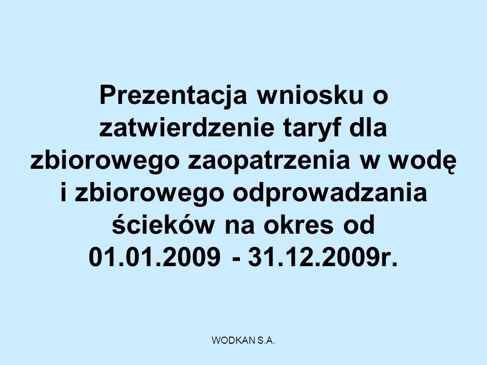 WODKAN S.A. Prezentacja wniosku o zatwierdzenie taryf dla zbiorowego zaopatrzenia w wodę i zbiorowego odprowadzania ścieków na okres od 01.01.2009 - 3