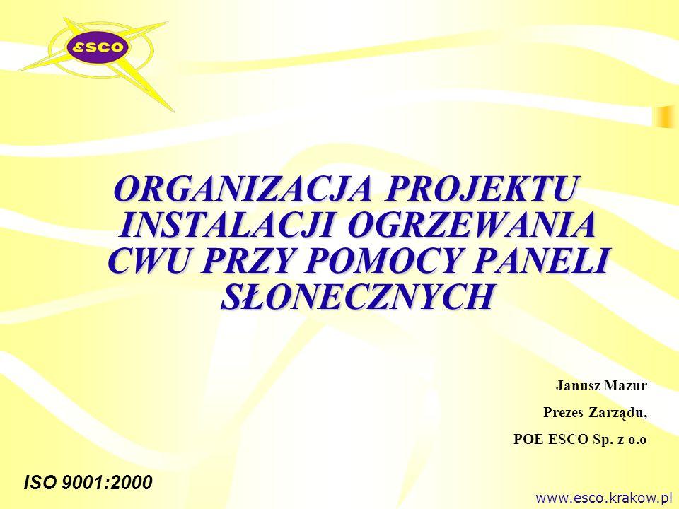 ISO 9001:2000 ENERGETYKA SOLARNA - wprowadzenie Promieniowane słoneczne - jedno z Odnawialnych Źródeł Energii Moc promieniowania słonecznego 1 500 000 000 000 000 000 kWh / 8760 h = 170 000 000 000 000 kW Przy pionowo padających promieniach 1353 W/m 2 - Stała Słoneczna Natężenie całkowitego promieniowania słonecznego w zależności od warunków pogodowych: Bezchmurne słoneczne niebieskie niebo- 1000 W/m2 Słońce przebija się przez chmury- 600 W/m2 Słońce jak biała szyba- 300 W/m2 Pochmurny zimowy dzień- 100 W/m2 Dla Polski średnia liczba godzin z bezpośrednią operacją słońca waha się w zależności od regionu od 1390 do 1900 godzin.