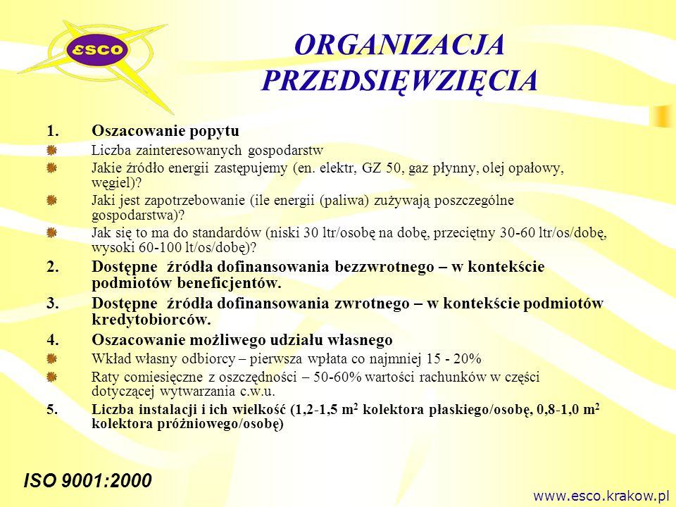 ISO 9001:2000 ORGANIZACJA PRZEDSIĘWZIĘCIA 1.Oszacowanie popytu Liczba zainteresowanych gospodarstw Jakie źródło energii zastępujemy (en. elektr, GZ 50