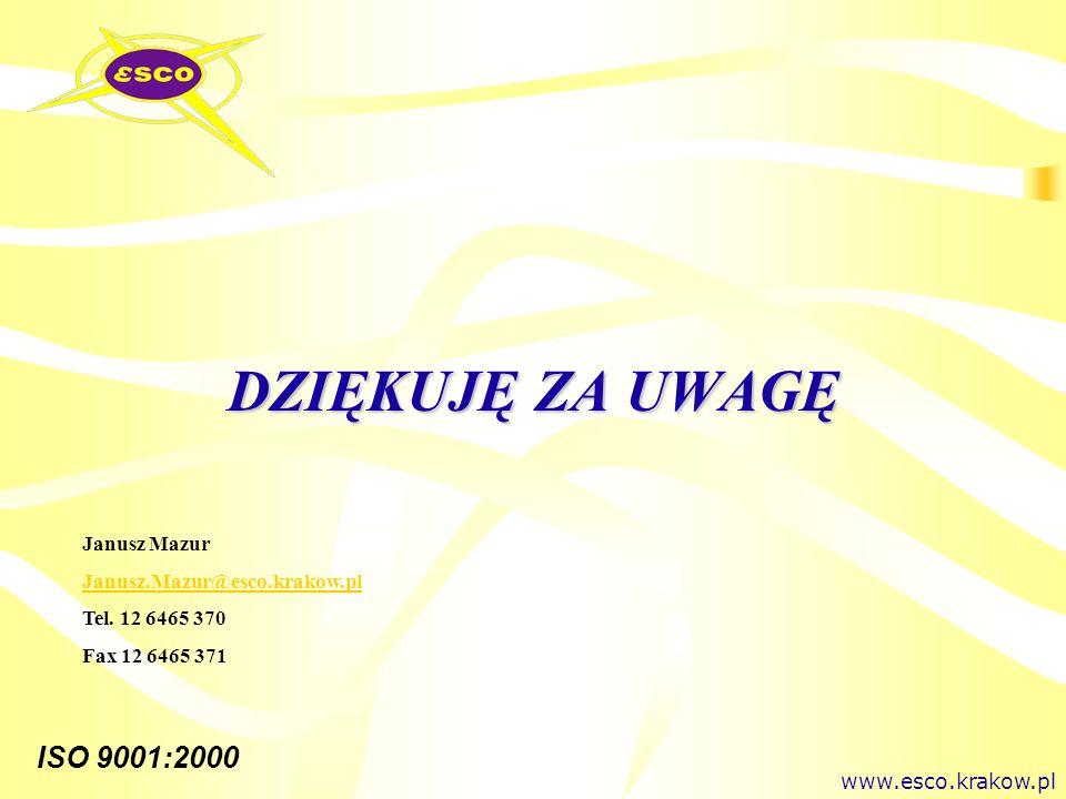 ISO 9001:2000 DZIĘKUJĘ ZA UWAGĘ www.esco.krakow.pl Janusz Mazur Janusz.Mazur@esco.krakow.pl Tel. 12 6465 370 Fax 12 6465 371