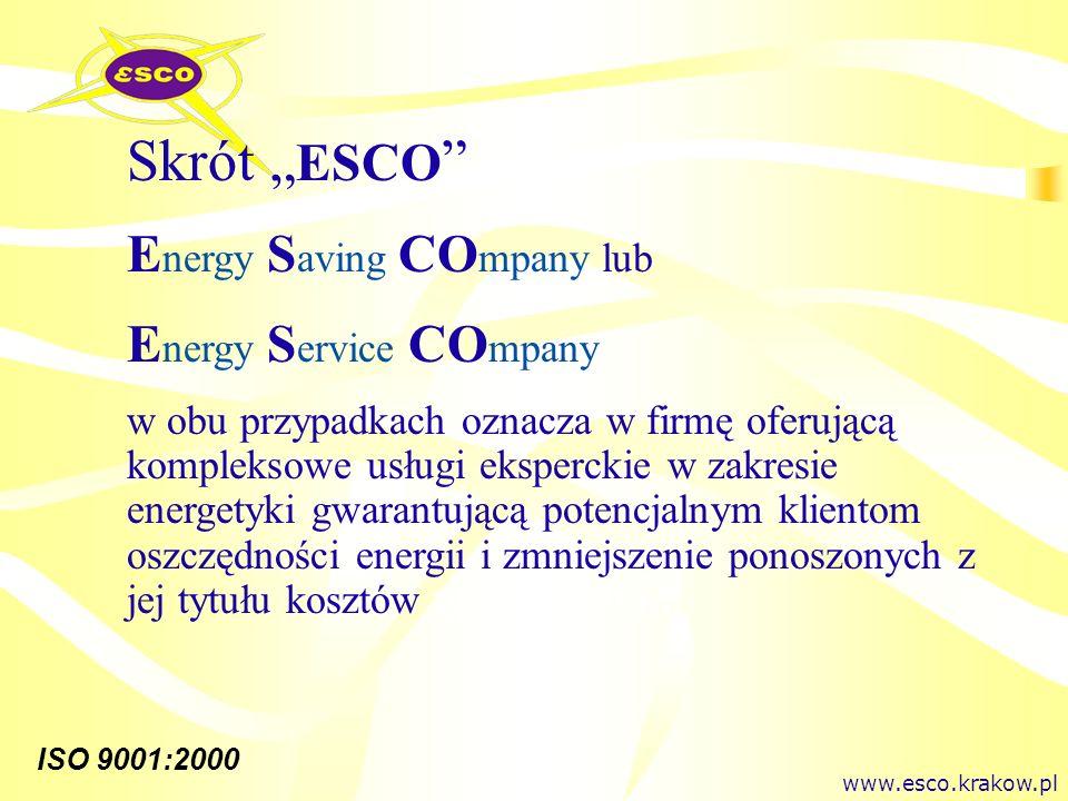 ISO 9001:2000 Skrót ESCO E nergy S aving CO mpany lub E nergy S ervice CO mpany w obu przypadkach oznacza w firmę oferującą kompleksowe usługi eksperc