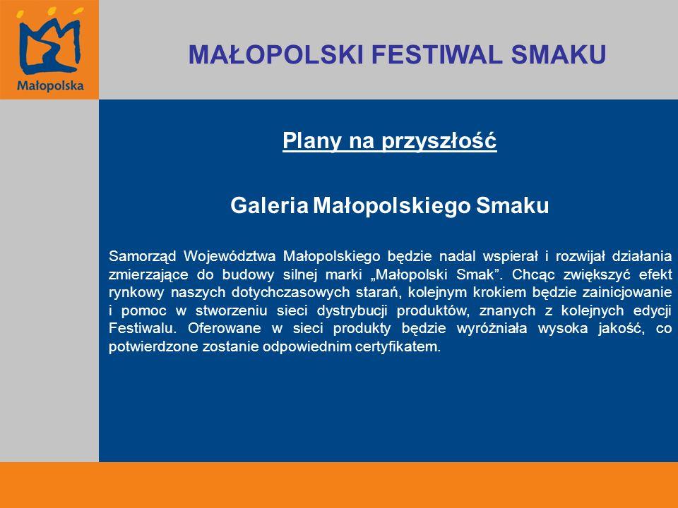 Plany na przyszłość Galeria Małopolskiego Smaku Samorząd Województwa Małopolskiego będzie nadal wspierał i rozwijał działania zmierzające do budowy si