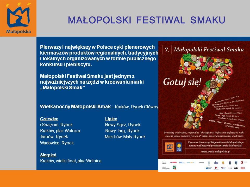 Promocja Małopolskiego Festiwalu Smaku MAŁOPOLSKI FESTIWAL SMAKU Portale internetowe - Reklama banerowa - ONET - Portale branżowe (kulinarne) (2005 – 2011) potrawyregionalne.pll gastrona.pl papaja.pl - Portal społecznościowy: Facebook - Działania własne: mailing - Portale miejskie (2009-2011) Oświęcim: Oświęcimskie24, Wadowickie24, Fakty Oświęcim Tarnów: Tarnowskieinfo, Intarnetakcenty Nowy Sącz: Sadeczanininfo Nowy Targ: Podhale24.pl, Goralinfo Kampania reklamowa zewnętrzna - Plakaty (półfinały, finał) - Ulotki (półfinały, finał) - Citylighty – 400 sztuk (finał) - Kraków 200 sztuk - Warszawa 100 sztuk - Śląsk 100 sztuk Działania PR - Konferencja prasowa przed finałem - Media relations: mailing - Wizyty studyjne dla dziennikarzy