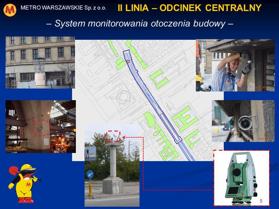 – System monitorowania otoczenia budowy – METRO WARSZAWSKIE Sp. z o.o. II LINIA – ODCINEK CENTRALNY 5