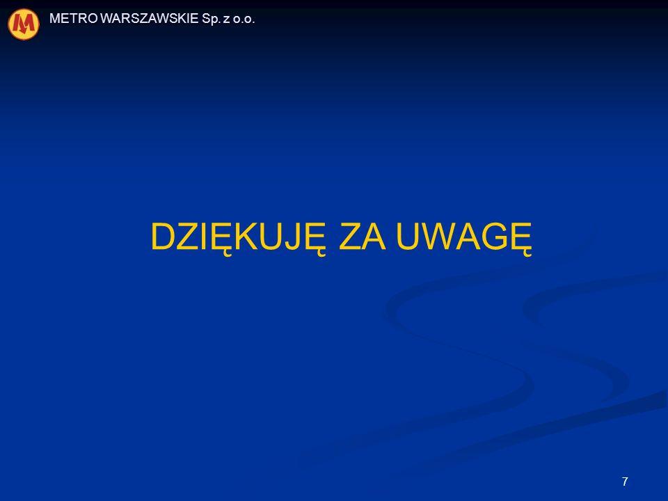 7 METRO WARSZAWSKIE Sp. z o.o. DZIĘKUJĘ ZA UWAGĘ