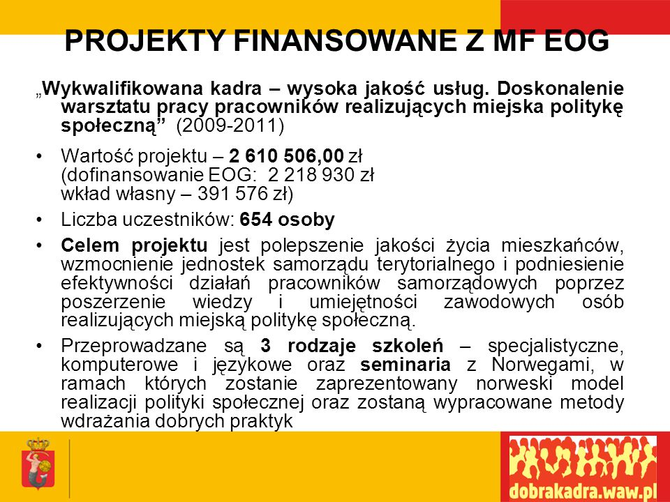 PROJEKTY REALIZOWANE W 2007 na rzecz polityki społecznej Całkowita wartość zrealizowanych w 2007 roku projektów wyniosła 42 762 987 zł, w tym: Dofinansowanie – 32 894 438 zł Wkład własny – 9 868 549 zł