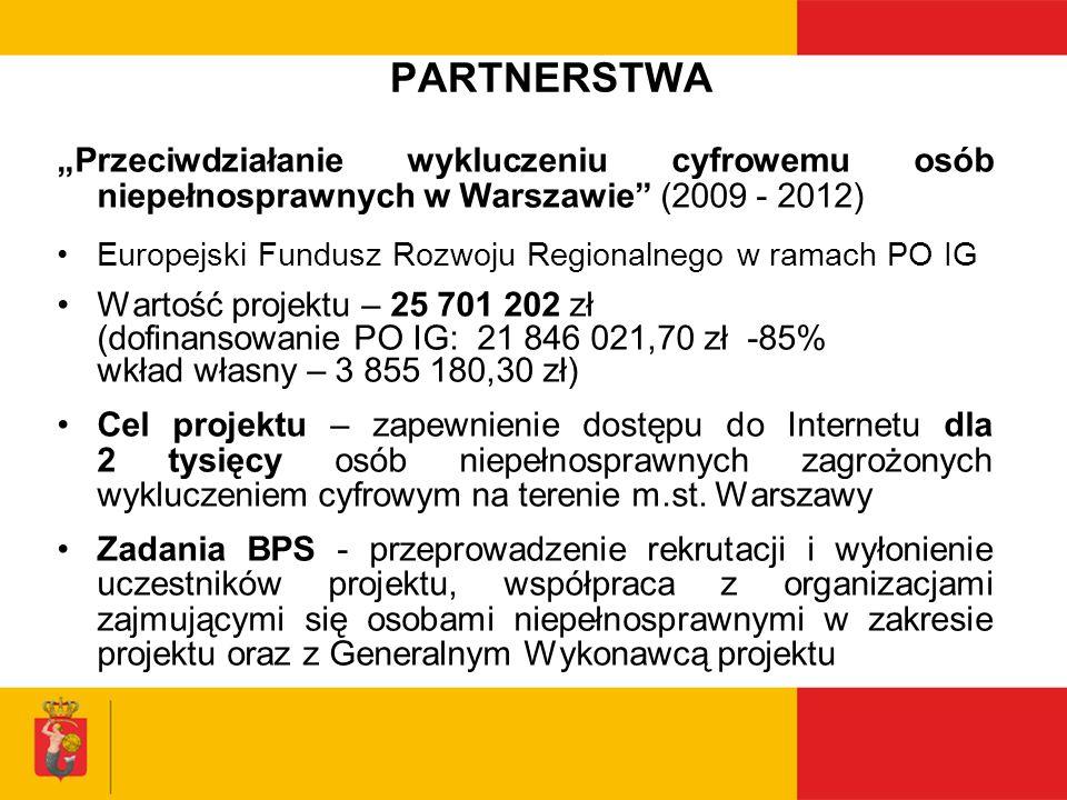 PARTNERSTWA Profesjonalny pracownik socjalny – profesjonalne działanie na rzecz osób wykluczonych (2010-2011) (w partnerstwie z Instytutem Rozwoju Służb Społecznych w ramach Poddziałania 7.2.1.) Projekt finansowany przez Europejski Fundusz Społeczny Wartość projektu – 484 784 zł (dofinansowanie PO KL: 484 784 zł) Cel projektu - wzmocnienie kadry zatrudnionej w ośrodkach pomocy społecznej w Warszawie, prowadzące do jej profesjonalizacji i lepszego oddziaływania na rzecz klientów