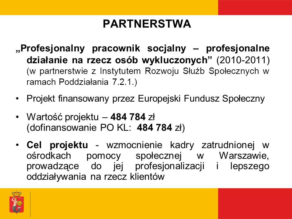 PARTNERSTWA Profesjonalny pracownik socjalny – profesjonalne działanie na rzecz osób wykluczonych (2010-2011) (w partnerstwie z Instytutem Rozwoju Słu