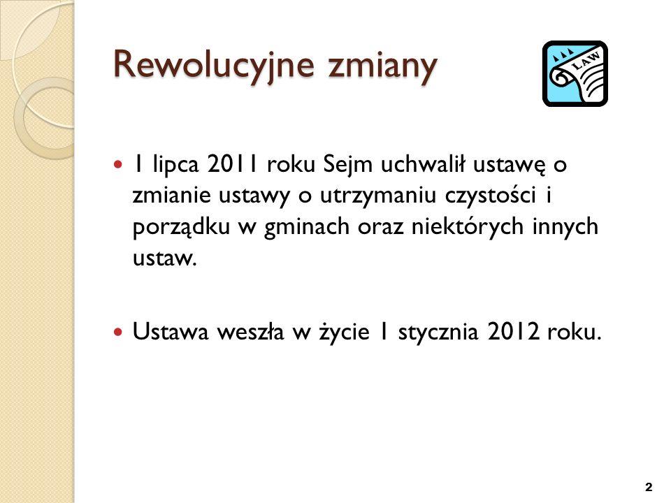 Dlaczego potrzebna jest rewolucja Od 12 grudnia 2010 we wszystkich krajach członkowskich powinna być transponowana Dyrektywa 2008/98/WE w sprawie odpadów oraz uchylająca niektóre dyrektywy Jednym z elementów wdrożenia dyrektywy jest zmiana ustawy o utrzymaniu czystości i porządku w gminach oraz niektórych innych ustaw.