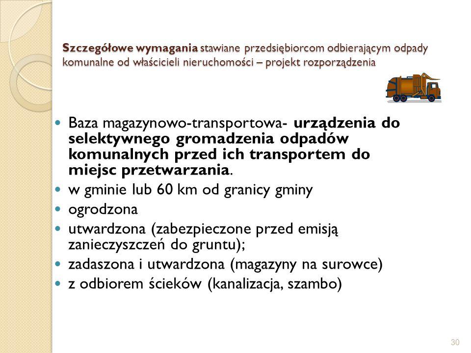 Szczegółowe wymagania stawiane przedsiębiorcom odbierającym odpady komunalne od właścicieli nieruchomości – projekt rozporządzenia Baza magazynowo-tra