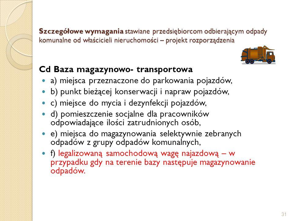 Szczegółowe wymagania stawiane przedsiębiorcom odbierającym odpady komunalne od właścicieli nieruchomości – projekt rozporządzenia Cd Baza magazynowo-
