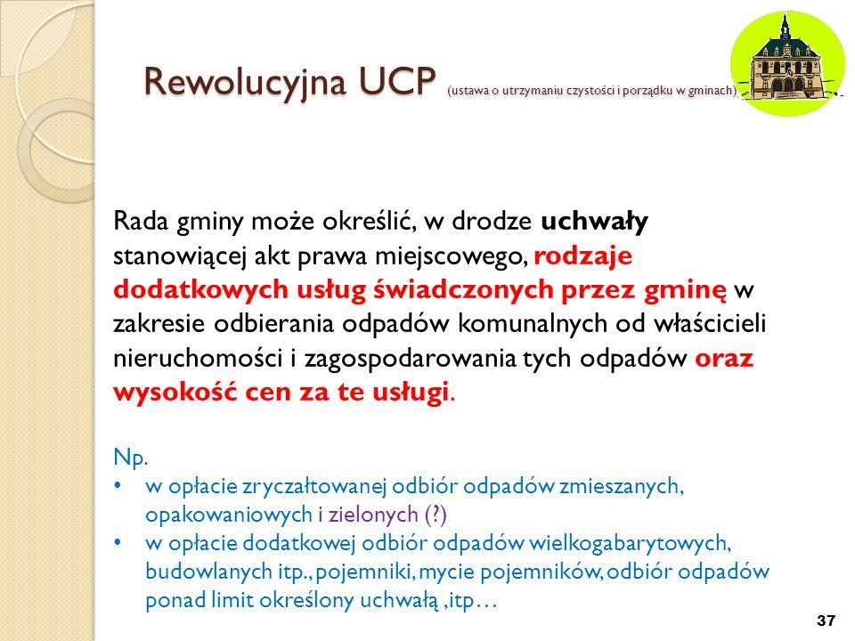 Rewolucyjna UCP (ustawa o utrzymaniu czystości i porządku w gminach) 37 Rada gminy może określić, w drodze uchwały stanowiącej akt prawa miejscowego,