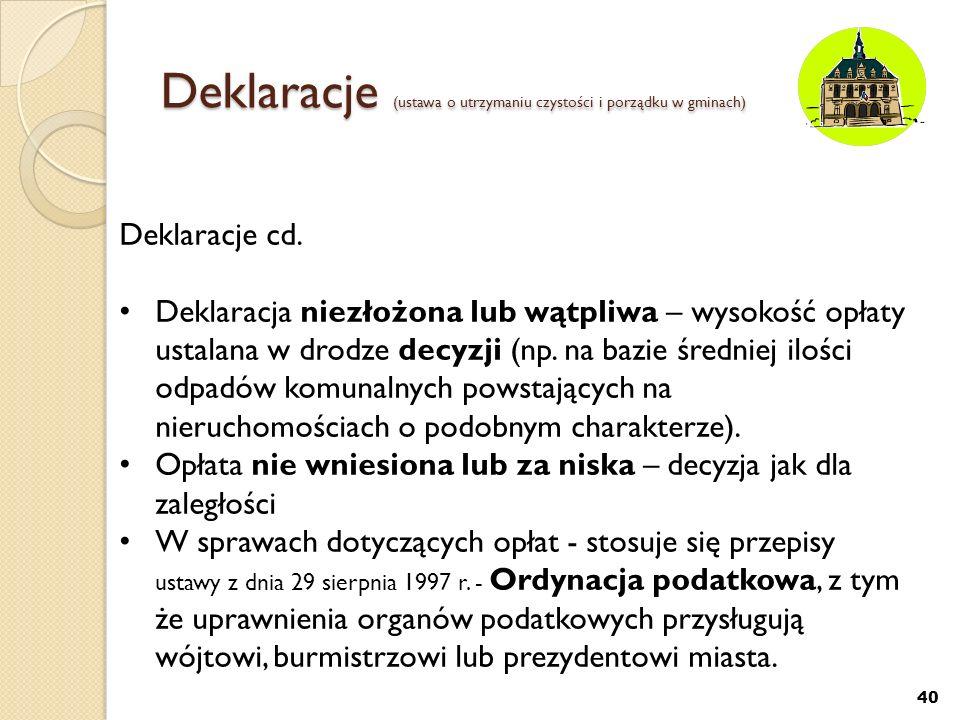 Deklaracje (ustawa o utrzymaniu czystości i porządku w gminach) 40 Deklaracje cd. Deklaracja niezłożona lub wątpliwa – wysokość opłaty ustalana w drod