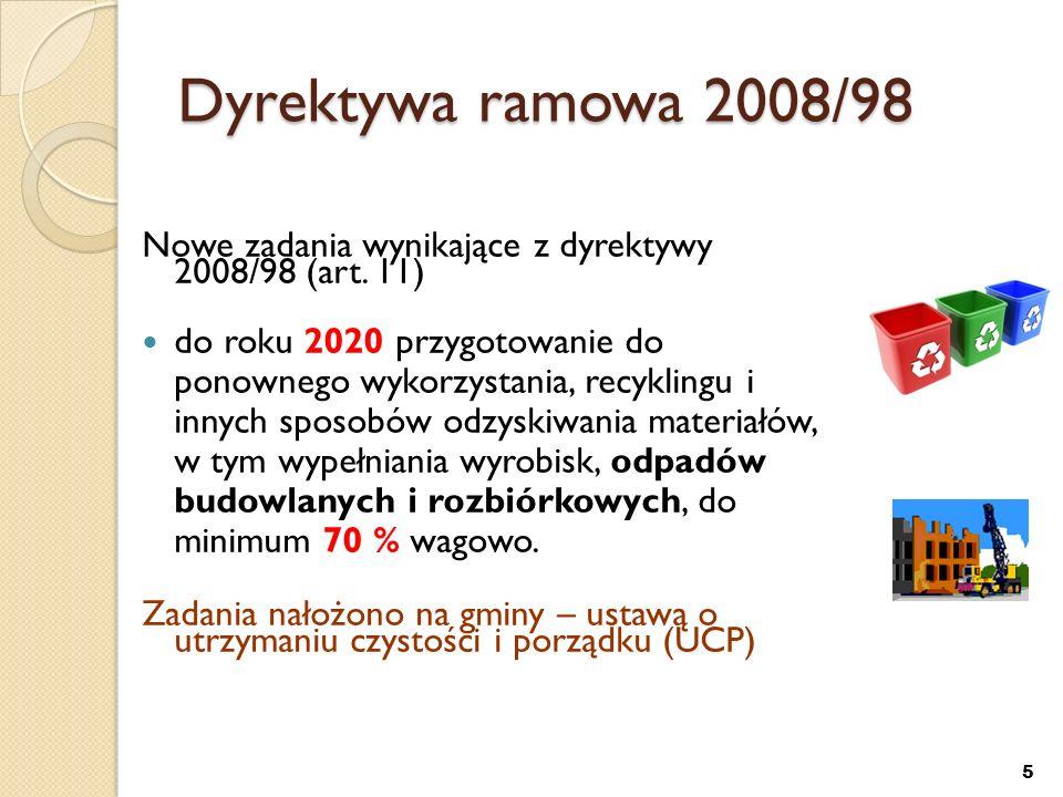 Dyrektywa 1999/31 składowiskowa Zapewnianie warunków ograniczenia masy odpadów komunalnych ulegających biodegradacji kierowanych do składowania: b) do dnia 16 lipca 2013 r.