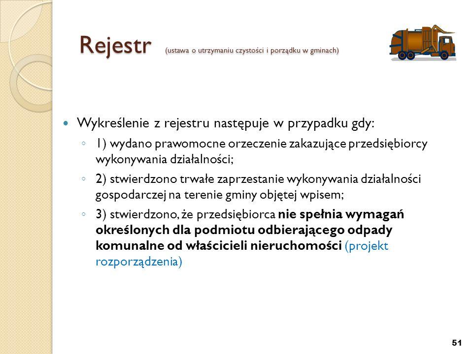 Rejestr (ustawa o utrzymaniu czystości i porządku w gminach) Wykreślenie z rejestru następuje w przypadku gdy: 1) wydano prawomocne orzeczenie zakazuj