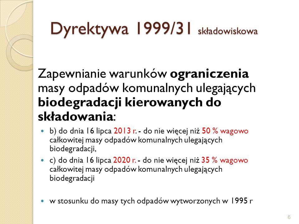 Wymagania Wymagany poziom redukcji odpadów biodegradowalnych - 2013 1.