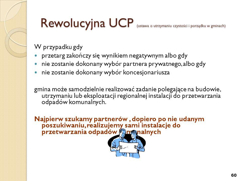 60 Rewolucyjna UCP (ustawa o utrzymaniu czystości i porządku w gminach) W przypadku gdy przetarg zakończy się wynikiem negatywnym albo gdy nie zostani