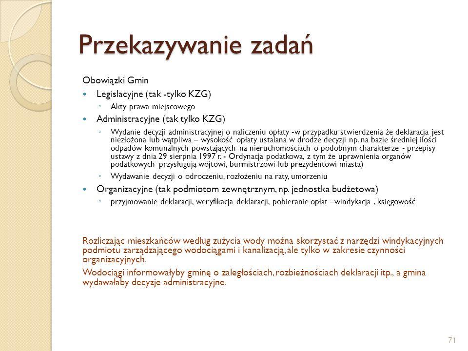 Przekazywanie zadań Obowiązki Gmin Legislacyjne (tak -tylko KZG) Akty prawa miejscowego Administracyjne (tak tylko KZG) Wydanie decyzji administracyjn