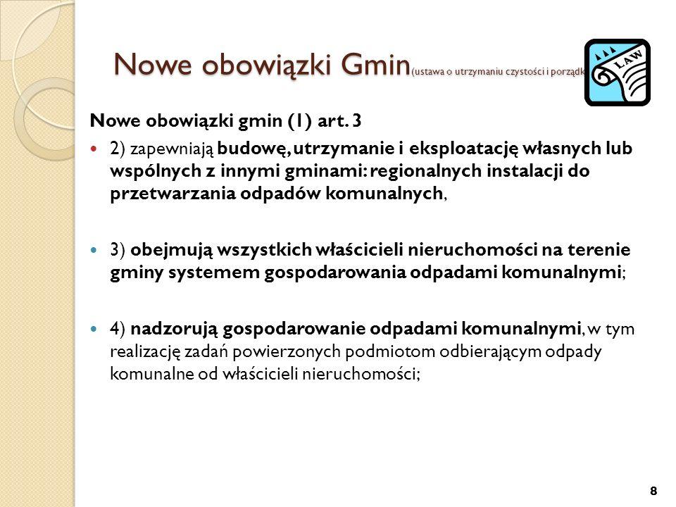 Nowe obowiązki Gmin (ustawa o utrzymaniu czystości i porządku w gminach) Nowe obowiązki gmin (1) art. 3 2) zapewniają budowę, utrzymanie i eksploatacj