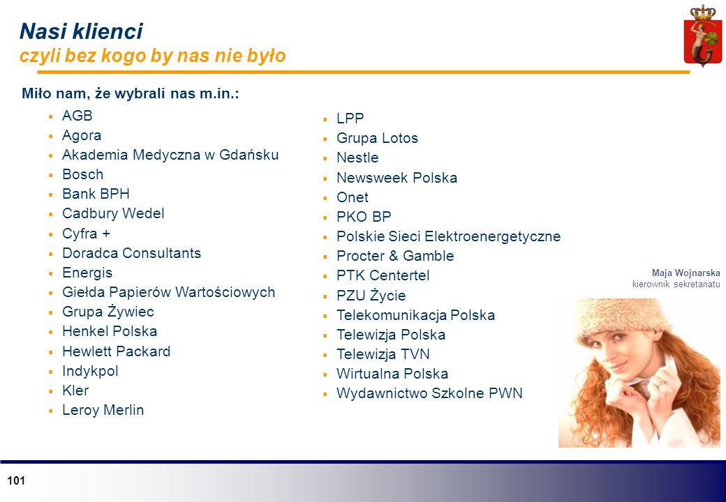 101 Nasi klienci czyli bez kogo by nas nie było Miło nam, że wybrali nas m.in.: AGB Agora Akademia Medyczna w Gdańsku Bosch Bank BPH Cadbury Wedel Cyf