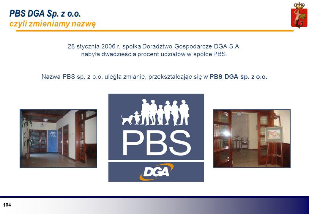 104 28 stycznia 2006 r. spółka Doradztwo Gospodarcze DGA S.A. nabyła dwadzieścia procent udziałów w spółce PBS. Nazwa PBS sp. z o.o. uległa zmianie, p