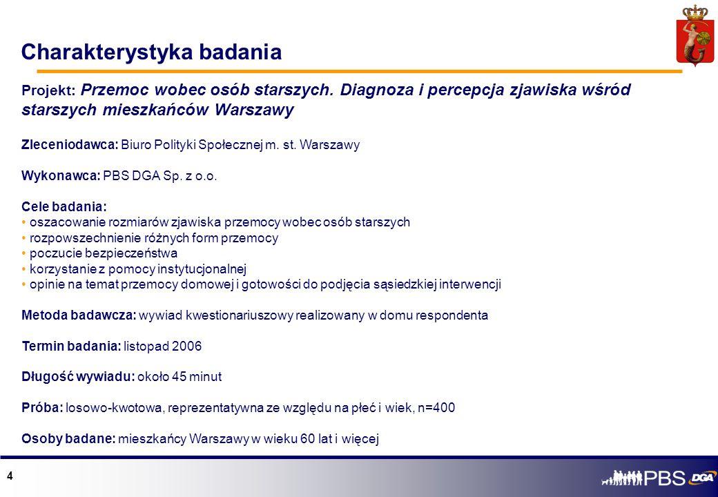 4 Projekt: Przemoc wobec osób starszych. Diagnoza i percepcja zjawiska wśród starszych mieszkańców Warszawy Zleceniodawca: Biuro Polityki Społecznej m