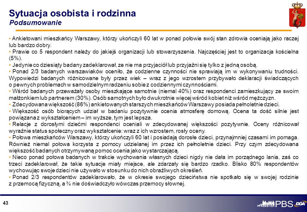 43 Sytuacja osobista i rodzinna Podsumowanie Ankietowani mieszkańcy Warszawy, którzy ukończyli 60 lat w ponad połowie swój stan zdrowia oceniają jako