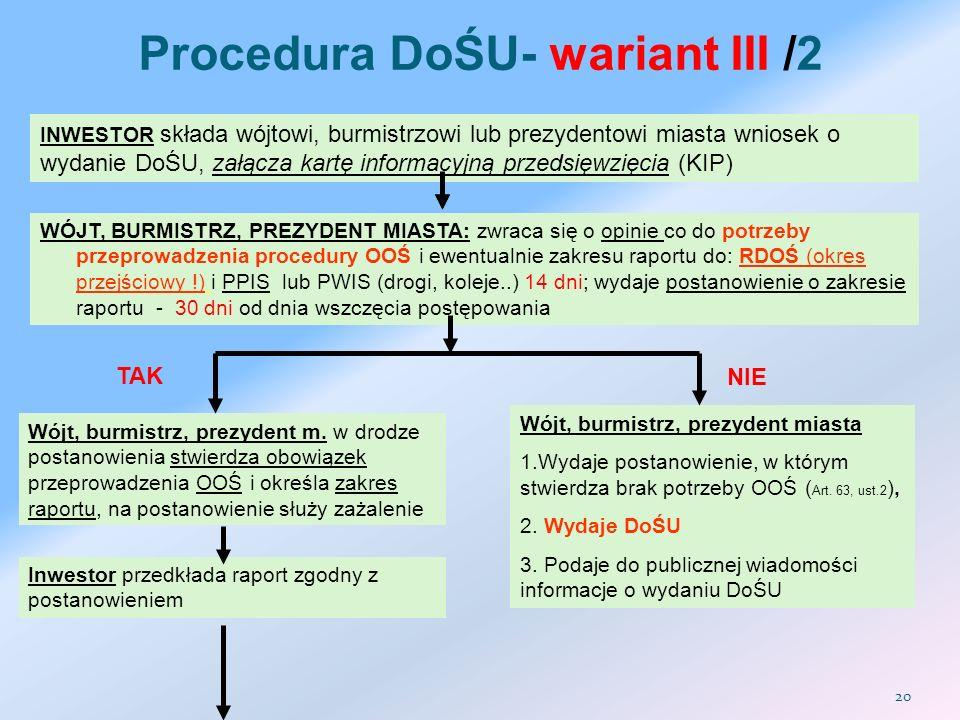 Procedura DoŚU- wariant III /2 INWESTOR składa wójtowi, burmistrzowi lub prezydentowi miasta wniosek o wydanie DoŚU, załącza kartę informacyjną przeds