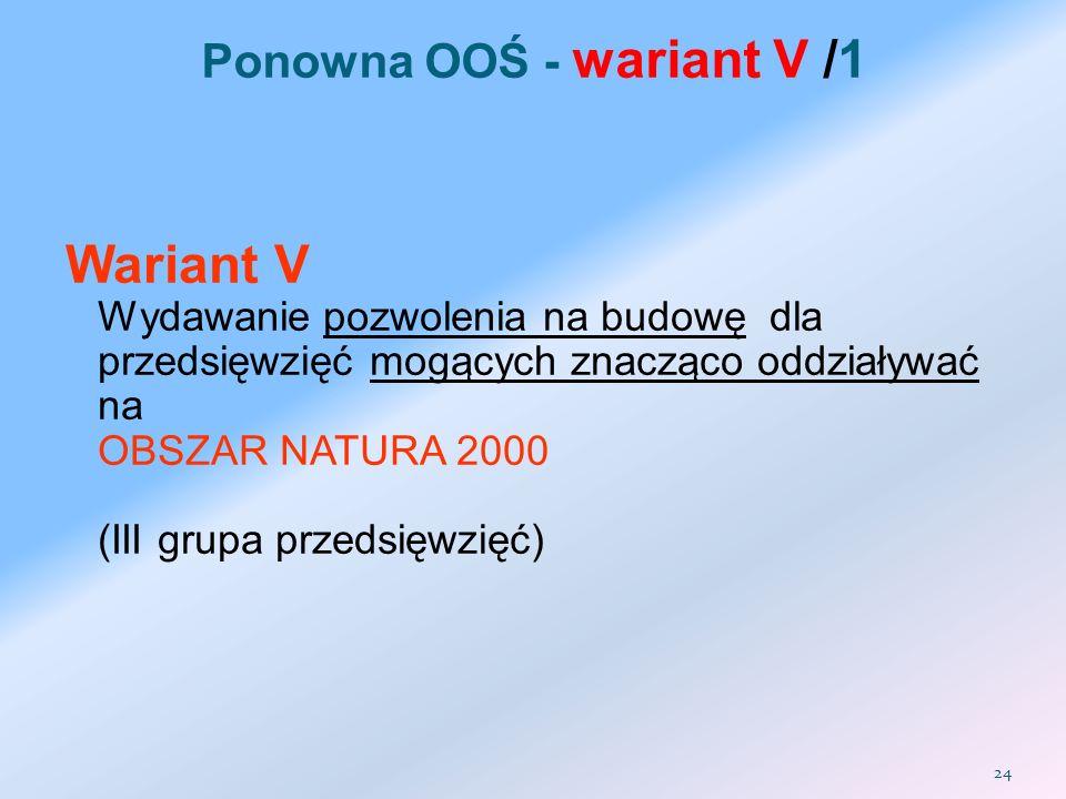 Wariant V Wydawanie pozwolenia na budowę dla przedsięwzięć mogących znacząco oddziaływać na OBSZAR NATURA 2000 (III grupa przedsięwzięć) Ponowna OOŚ -