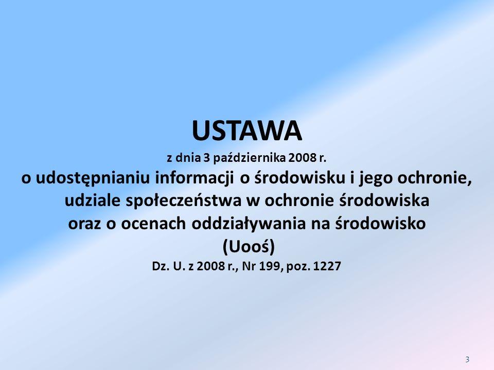 Procedura DoŚU- wariant I /2 INWESTOR składa wójtowi, burmistrzowi lub prezydentowi miasta wniosek o wydanie DoŚU, Załącza raport w zakresie określonym w ustawie art.
