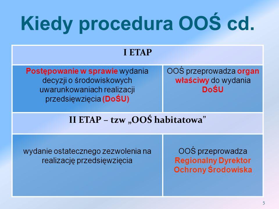 Kiedy procedura OOŚ cd. I ETAP Postępowanie w sprawie wydania decyzji o środowiskowych uwarunkowaniach realizacji przedsięwzięcia (DoŚU) OOŚ przeprowa