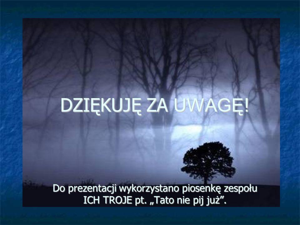 DZIĘKUJĘ ZA UWAGĘ ! Do prezentacji wykorzystano piosenkę zespołu ICH TROJE pt. Tato nie pij już.