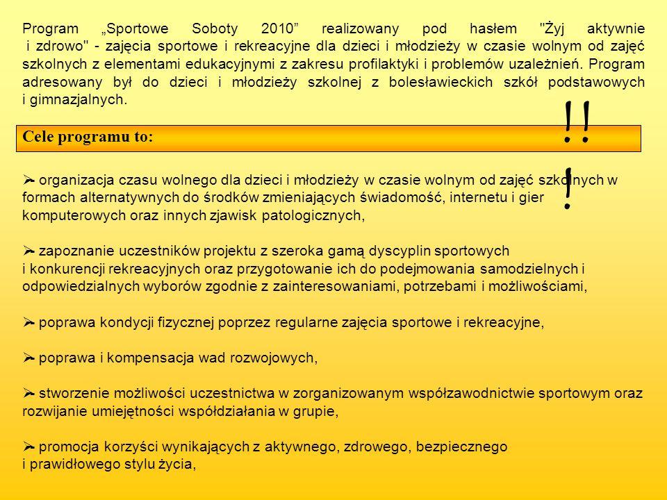 Program Sportowe Soboty 2010 realizowany pod hasłem